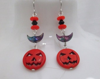 Halloween Night Jack-o-lantern Beaded Dangle Earrings