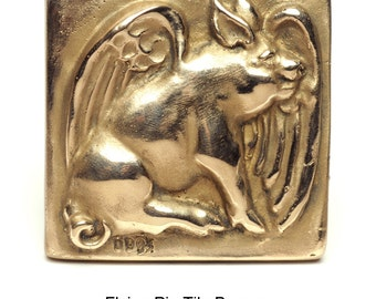 Flying Pig Bronze Tile