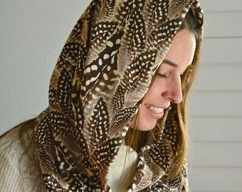 Silk Fabric Feather Print Festival Hood/ Cowl Hood/ Burning Man Hood/