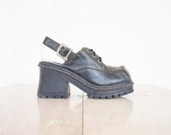 90s Black Chunky Platform Slingback Shoes / Women's Size 8 US - 38/39 Eur - 6 UK