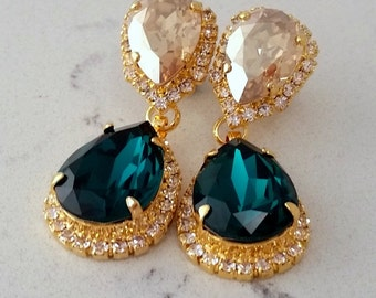 Emerald earrings,Emerald champagne Chandelier earrings,emerald bridal earrings,Dangle drop earrings, Swarovski earrings,bridesmaid gift