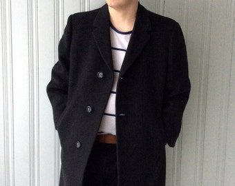 vintage 60s coat Dark Charcoal Gray Fine Lambswool Overcoat Chest 46 Made in Canada Dress Coat Soft Fine Wool Formal Mad Men Lined Tailored