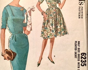 "Vintage 1962 McCall's Misses Dress Pattern 6235 Size 14 1/2 (35"" Bust)"