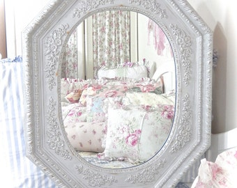 SUMMER SALE Extra Large French Country Ornate Octagonal Driftwood Gray Mirror Floral Swags Florentine Unique Shabby Cottage Chic