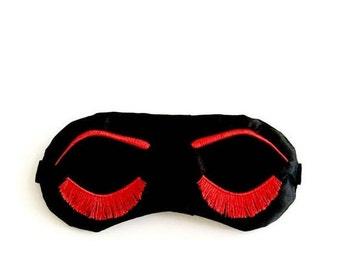 Eyelashes sleep mask BLACK and RED