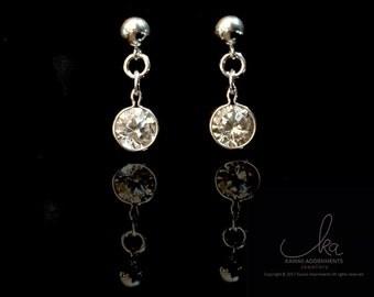 Sterling silver CZ Crystal earrings - round CZ crystal clear / gemstone earrings / ball stud, butterfly back