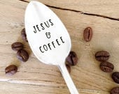 Jesus & Coffee stamped spoon. Christian Gifts for her. Minister, Pastor Gift Idea.
