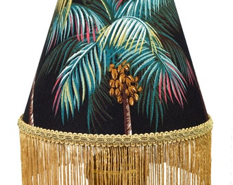 Tiki Decor Palm Tree Print Retro Lamp Shade with Fringe - Custom Lampshades