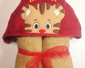 Daniel Tiger Hooded Bath Towel, Kids Hooded Towel, Tiger Peeker, Birthday, Baby Shower, Daniel, Tiger Towel, personalized Kids Towel, Gift