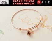CYBER MONDAY SALE! Rose Gold Bracelet, Personalized initial bangle bracelet, Pine cone Bracelet, family tree, friendship, Bridesmaid Gift