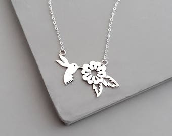 Sterling Silver Hummingbird Necklace - Hummingbird Jewelry - Delicate Bird Necklace - Hummingbird Wedding - Bird necklace - Flower Necklace