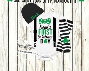 Boy 1st St Patricks Day Baby Outfit First St Patricks Day Bow Tie Suspenders Baby Boy Clothing Clothes  2T 3T 4T Personalized-BODYSUIT/SHIRT