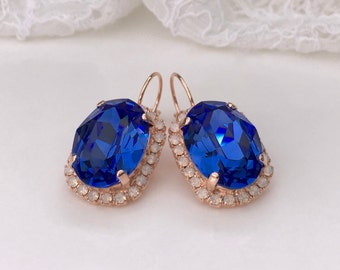 Sapphire Earrings Blue Sapphire Rose Gold Bridal Blue Bridal Blue Wedding Blue Bridesmaids Sapphire Blue Swarovski Crystal Drop Earrings