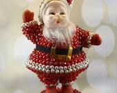 Beaded Vintage Flocked Dancing Santa Claus, Mid Century Vintage Retro Christmas, 1950s, Vintage Home madekitsch, figurine
