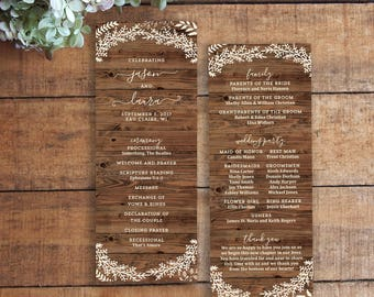 Wedding Program, Wedding Programs, Order of Service, Wood Program, Wood Grain Program, Rustic Program, Printable Program