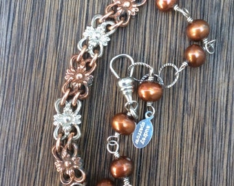 Vintage 1920s  Watch Fob Chain Bracelet, Copper Freshwater Pearls