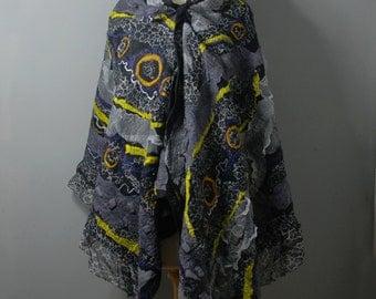 Nuno Felted scarf Felted shawl merino wool silk fabric  grey gray black yellow gold silver felted art  winter wool scarf wool blanket gift