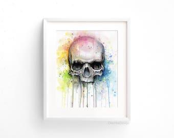 Skull Watercolor Print Rainbow Skull Wall Art Skull Decor Colorful Skull Art Drips and Splatters Macabre Decor Halloween Skeleton Painting