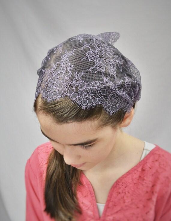 Lavendar Veil with Ties | Girl's Catholic Chapel Veil for Mass Catholic Mantilla Mass Veils Purple Girl's Chapel Veil Robin Nest Lane Veils