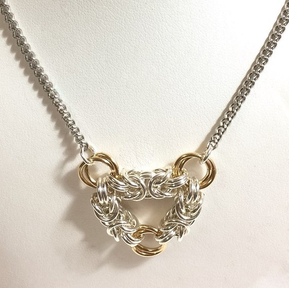 Infinity sterling silver and gold fill Byzantine chainmaille necklace