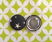 Wholesale Button Earrings / Black and White / Handmade Jewelry / Fabric Covered / Stud Earrings / Stocking Stuffers / Star Print
