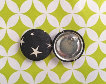 Wholesale Button Earrings / Black and White / Handmade Jewelry / Fabric Covered / Stud Earrings / Star Print / Small Gifts for Her / Bulk