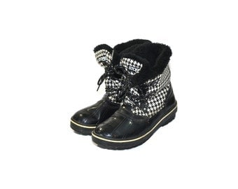 Vintage Black Rain Boots Insulated Rain Boots Duck Boots Insulated Winter Boots Black Houndstooth Boots Size 9