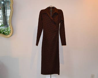 90's Jean Paul Gaultier 'Femme' Evening dress. Burgundy and black stretch brocade, long sleeved US size 6, made in Italy