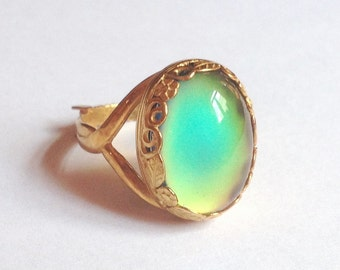 Mood Ring Sterling Silver 925 - 24k gold plated  - 18x13 mm - High Quality - adjustable - new