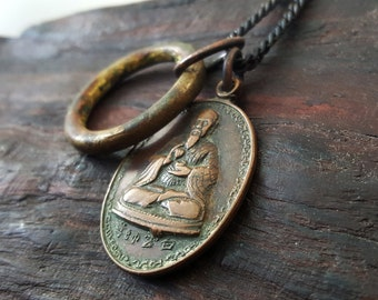 1978 Chinese Buddhist Sage Necklace with Antique African Ring