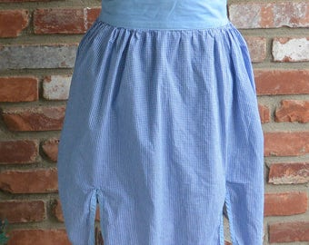 Country Half Apron - Cotton, Blue Check, 2 Quilted Pockets, Slits in Front - Vintage - Fabulous!