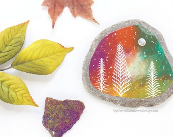 """Galaxy Trees Painted Rock, 3.5"""" by 3.5"""" Hand-Painted Stone, Painted Galaxy, Tree Painting, Galaxy Painting, Moon and Stars, Nature Painting"""