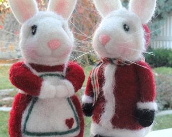 Santa & Mrs. Claus Bunny - Set of 2 - Christmas Figurines -  Made To Order - Santa Claus - Mrs Claus - Bunnies - Rabbits - White Rabbit