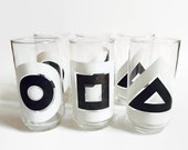 Vintage Juice Glasses Mod Geometric Black & White 1970s Cocktail Glasses Juice Glasses Tall Tumblers 1970s Modern Set Bold Graphic Bullseye