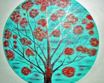 red tree painting, red tree art, tree painting, tree wall art, moder decor, red painting turquoise wood, tree decor, turquoise blue and red