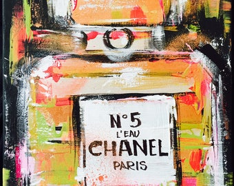 Chanel n.5 Fashion Print on Canvas,  Fashion Illustration by Lana Moes, Chanel Inspired Large Wall Art, Ready to Hang, Warhol Inspired