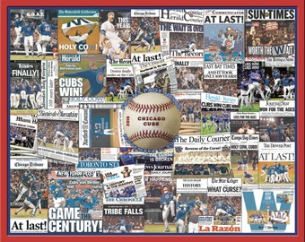 Chicago Cubs 2016 World Series Newspaper Collage Print Art.
