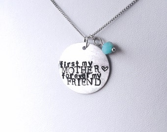 "Hand Stamped Necklace or Bracelet | Mother + Friend | 1"" Customizable Quote Pendant 