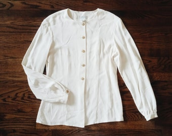 Vintage 100% Silk Long Sleeve Blouse with Gold Buttons