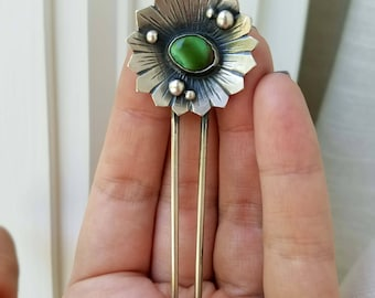 RESERVED PAYMENT Turquoise Hair Pin. Natural Royston Turquoise. sterling/fine silver. Chromafusion Jewelry The Wildflower Collection