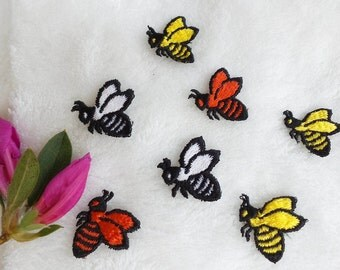 Bumble Bee Applique Vintage Embroidery Patches, Red Bee, Black and White Bee and Yellow Bee Embroidered Applique, Insect Applique Bees