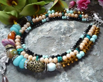 genuine stones necklace, four strands necklace, agates necklace, moonstone necklace, sea horse necklace, colorfull necklace, aqua necklace