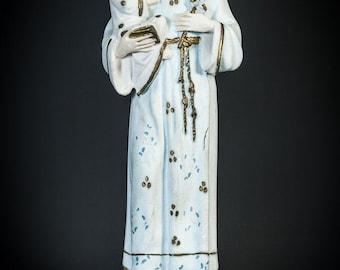 "17.7"" Large Antique Saint Anthony of Padua with Child Jesus Plaster Statue Vintage Baby Jesus Delightful Figurine Infant Figure"