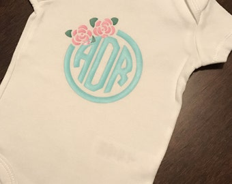 Baby Girl Monogrammed Floral Onesie, Personalized Bodysuit with Flowers, Customized Short Sleeve or Long Sleeve