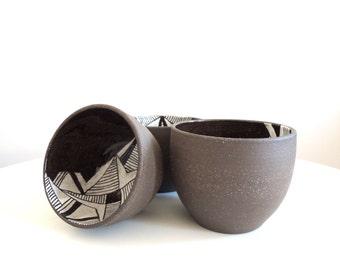 Black and white geometric stoneware bowl, medium size