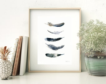 Black feathers A5 art print card. Giclee print from original watercolor painting. Watercolour painting by Annemette Klit. Black and white
