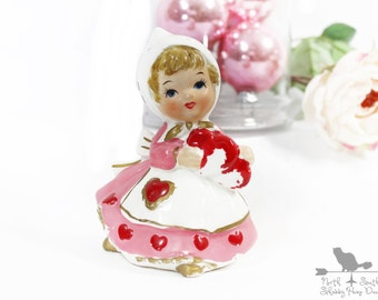Shabby Heart Girl Figurine, Vintage Valentine Figurine, Valentines Day Decor, Early Lefton Collectible