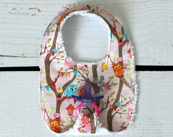 Baby Girl Binky Bib in Riley Blake Tree Party Owl Fabric with Chenille Back