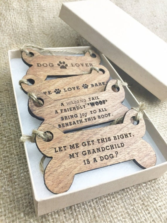 Dog Ornament Set Gifts For Dog Lovers Wood Christmas Tree
