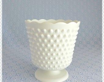 Vintage Cache Pot, White Hobnail, Plastic Planter, White Line, Decorative Cachepot, Pedestal Flower Pot, Ornamental Container, Home Decor